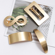 European and American Style Woman Metal Hair Clip Lazy Wind Geometry clip Horsetail Girls Accessories