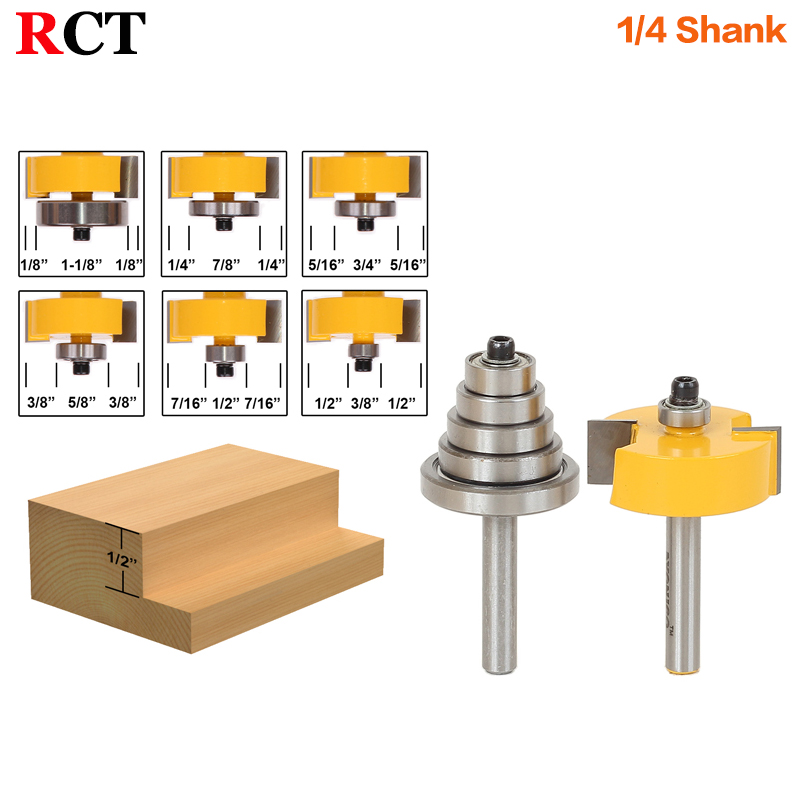 Rabbet Router Bit with 6 Bearings Set -1/2H - 1/4 Shank Woodworking cutter Tenon Cutter for Woodworking Tools 6pc 1 4 shank high quality round over router bit set 1 2 3 8 5 16 1 4 1 8 radius tenon cutter for woodworking tools
