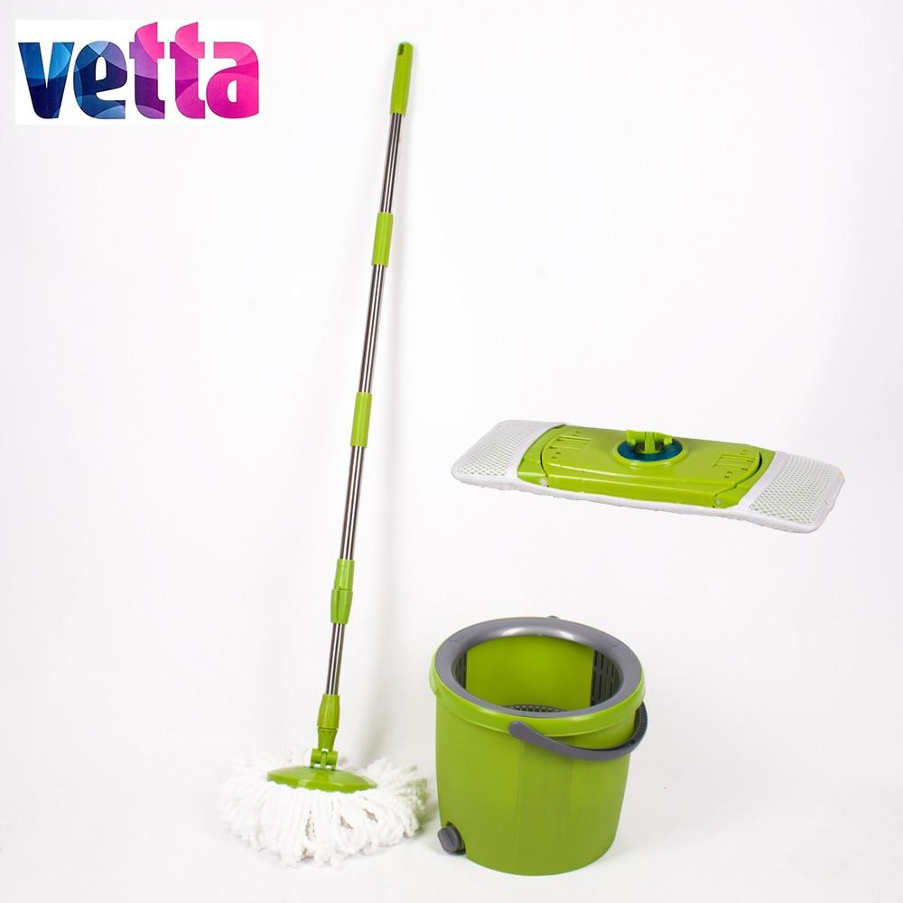 VETTA Vadrouille avec seau et deux différentes têtes de balai magique mops étage haute qualité vert spin balai WYL-30-2; 993-033
