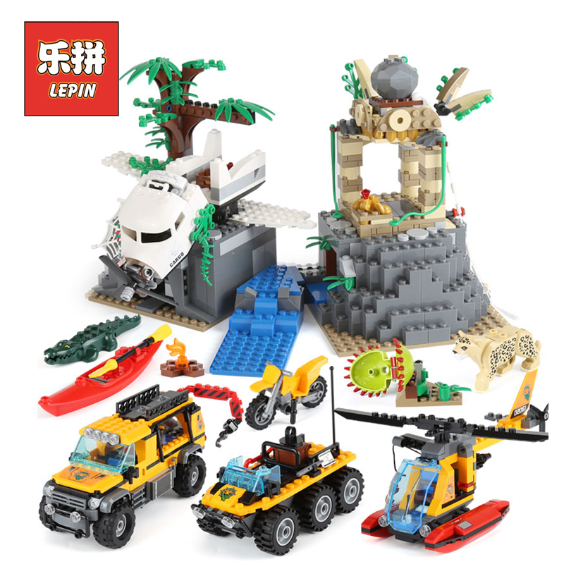 Lepin 02061 the Jungle Exploration Site Set Building Blocks Compatible Legoings City 60161 Bricks Children Toys Christmas Gift lepin 02061 genuine city series the jungle exploration site set 60161 building blocks bricks christmas gift for children 870pcs