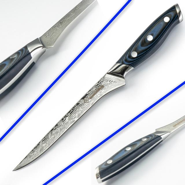 Damascus Kitchen Knife Boning Knife Japanese Damascus vg10 Kitchen Knives Filleting Slicing Cooking Tools Butcher Knife Blue NEW