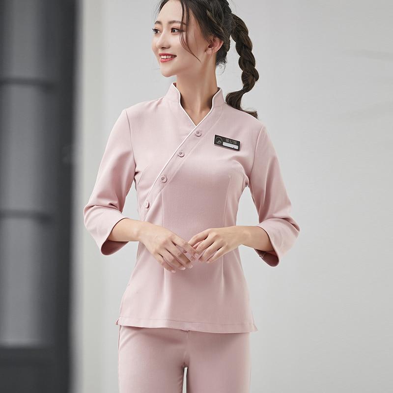 2018 New Fashion Fall And Winter Spa Uniform Beauty Hospital Nurse Top+Pants Set Beautician Work Clothing Free Shipping Workwear