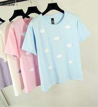 2018 Cotton T-Shirt Summer Lovely Student Printing Tee Women Print Pink Clouds Harajuku T Shirts Young Ladies Tops 61784