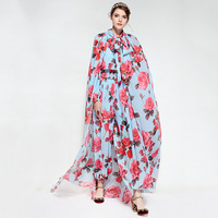 Sky Blue Flowers Print Women's Jumpers And Rompers Fashion bodysuit women With Capes combinaison femme 2018 80160