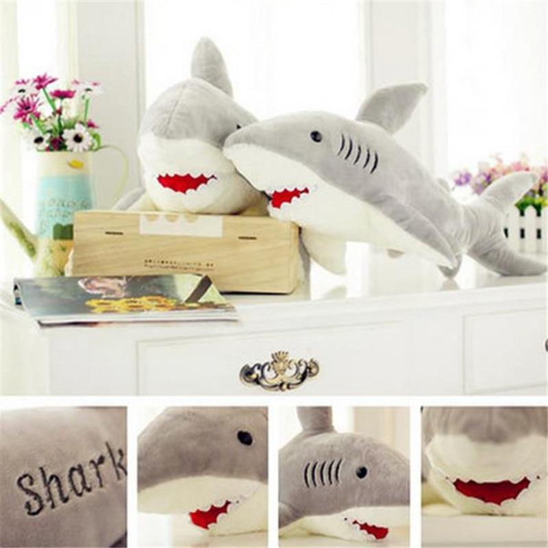 Baby Kids Pillow Shark Shaped Plush Doll Animal Bolster Pillow Toys Gift