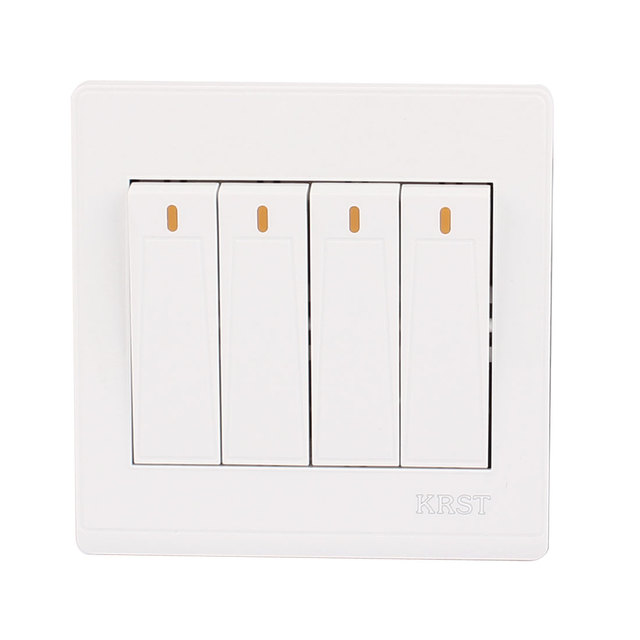 UXCELL On/Off Press Button 4 Gang 2 Way Wall Switch Home Light Lamp ...