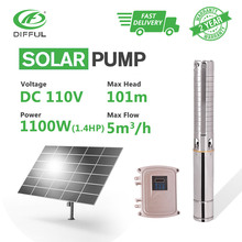 """4"""" DC Deep Well Solar Water Pump MPPT Controller Stainless Steel Impeller Borehole 110V 1.5HP 1100W (Max Head 101m, Flow 5T/H)"""
