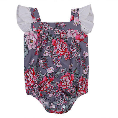 2017 Summer Newborn Kids Toddler Infant Baby Girls Romper Playsuit Jumpsuit Floral Sleeveless Outfits