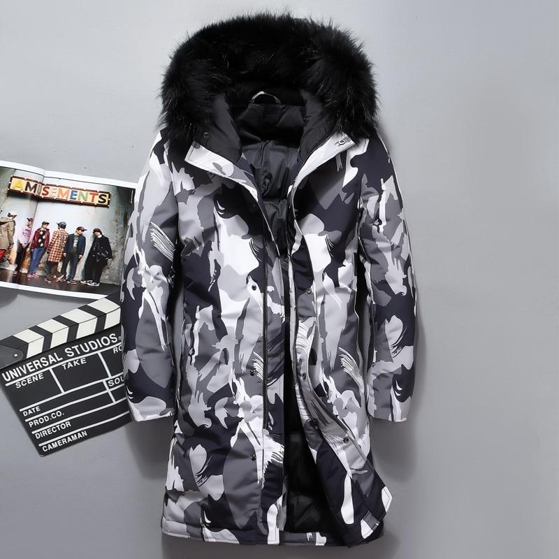Mens Fur Hooded Long Duck Down Jacket Man Camouflage Winter Down Coats Male Fashion Overcoat Keep Warm Parkas Outerwear JK-8909