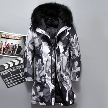 Mens Fur Hooded Long Duck Down Jacket Man Camouflage Winter Down
