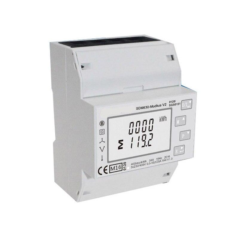 100A SDM630 Modbus RS485 Din Rail KWH Three Phase Energy Meter Solar PV Energy Meter RTU