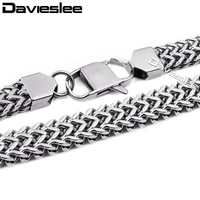 Davieslee Mens Chain Necklace Stainless Steel Silver Tone Vintage Double Foxtail Box Link 11mm