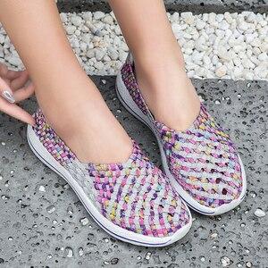 Image 5 - Baskets confortables pour femme, chaussures plates dété respirantes à la mode, tennis, chaussures dextérieur, pour marcher, collection mocassins décontractés