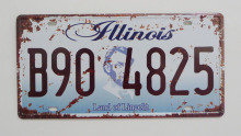 1 pc Illinois tin sign plate US American car license plaques man cave garage