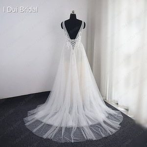 Image 5 - Pearl Wedding Dress with Lace Appliques Boho Chic Bridal Gown Beach Style Light Weight Factory Real Photo