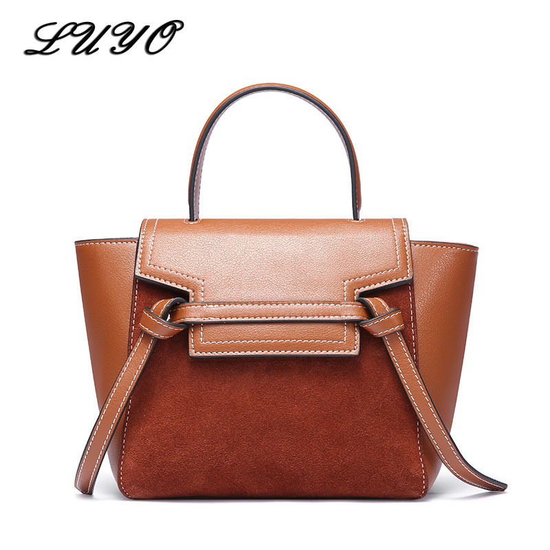 LUYO High Quality Genuine Leather Suede Bag Female Trapeze Luxury Handbags Women Shoulder Bags Designer Girl Messenger Replicas luyo 100% genuine leather designer ladies handbags high quality shoulder bag beige women messenger tote famous brands female