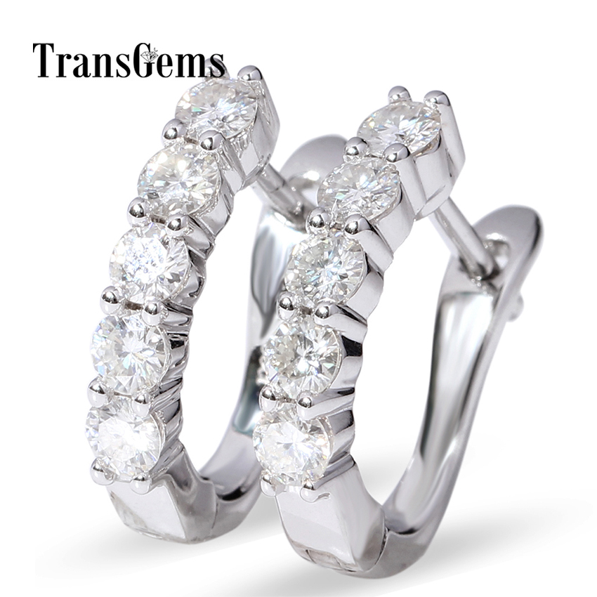 Transgems Moissanite Hoopie 14k White Gold Huggie Hoopie Earrings - مجوهرات راقية