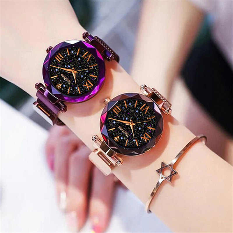 高級女性の腕時計磁気星空女性時計クォーツ腕時計ファッションレディース腕時計リロイ mujer レロジオ feminino