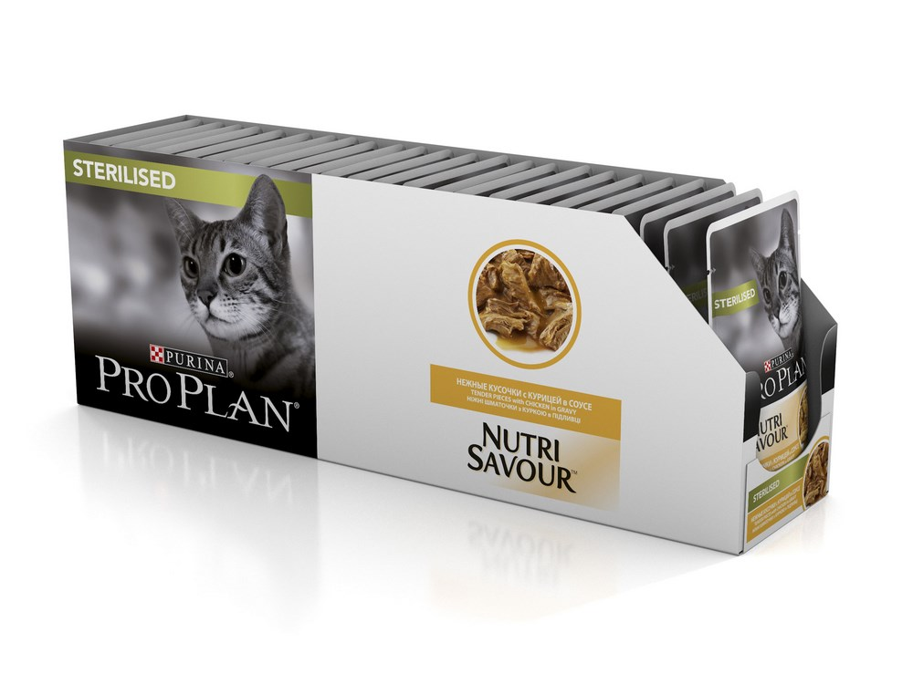 Cat wet food Pro Plan Nutrisavour Sterilized Pauch for sterilized cats and cats, Chicken (pieces in sauce, 24*85 g) cat wet food pro plan adult spider for adult cats duck pieces in sauce 24 85 g