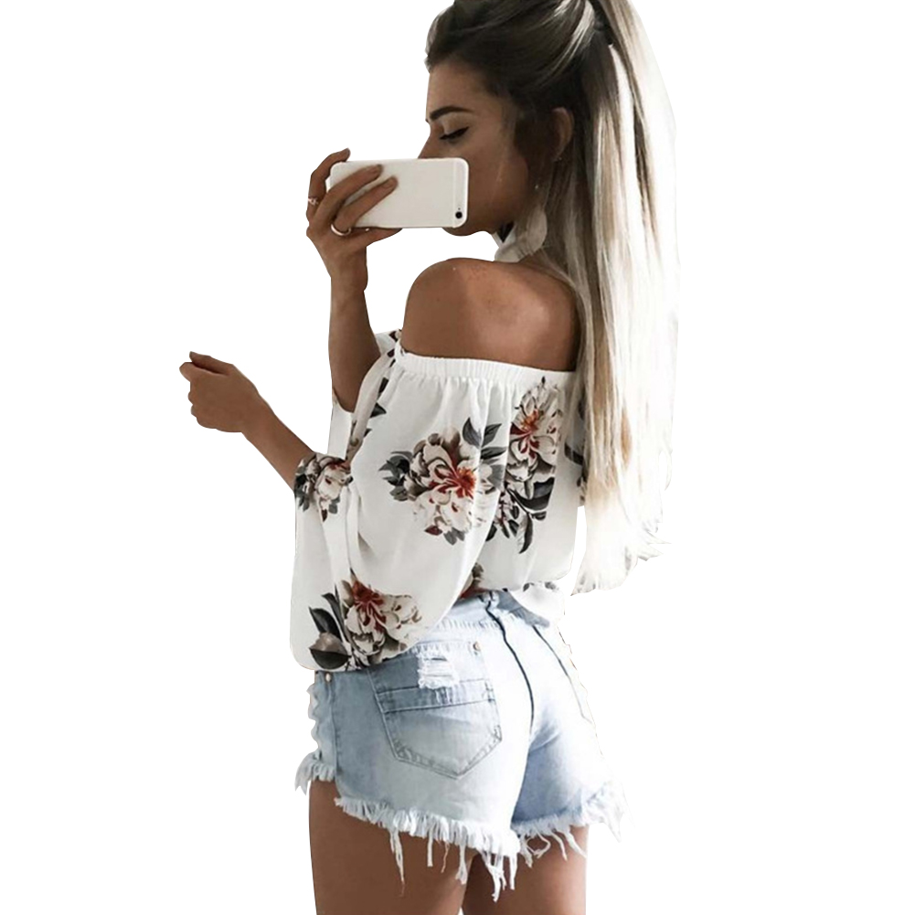2017 Fashion Lady Flower Print Sexy Boat Neck Off Shoulder T-shirt