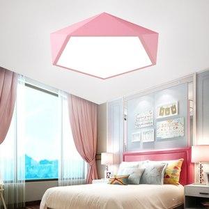 Image 4 - Macaron Pentagonal ceiling lights Acrylic LED Lamp Modern Living Room Bedroom Restaurant Kids Room Nordic Home Lighting Fixture