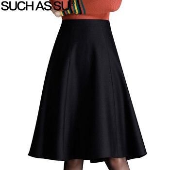 a939f7259f Otoño Invierno de las mujeres de falda de lana 2018 nueva moda negro marrón  una línea de cintura alta faldas de S-3XL señora de la Oficina falda