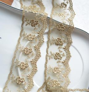 Image 3 - 3 Meters Champagne Gold Thread  Flower Net Dress Lace Trim Embroidery Lace Accessories 4.5cm Width Free Shipping