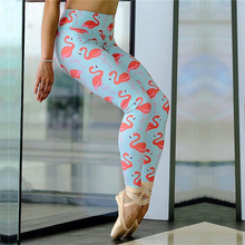 Whimsical Cute Printed Athletic Yoga Leggings Spandex Sport Legging High Waisted Tummy Control Fitness Pants Flamingo workout