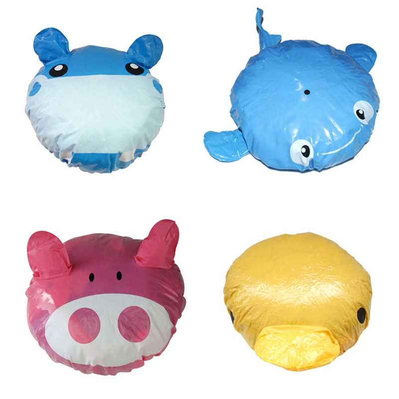 1Pcs Cute Cartoon Animal Design Waterproof PVC Elastic Spa Shower Caps Hat Bath Hair Cover Protector Hats Bathroom Product