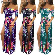 2018 Plus Size Summer Women Off Shoulder Floral Print Slash Neck Split Maxi Long Dress Ladies Evening Casual Dresses Vestido