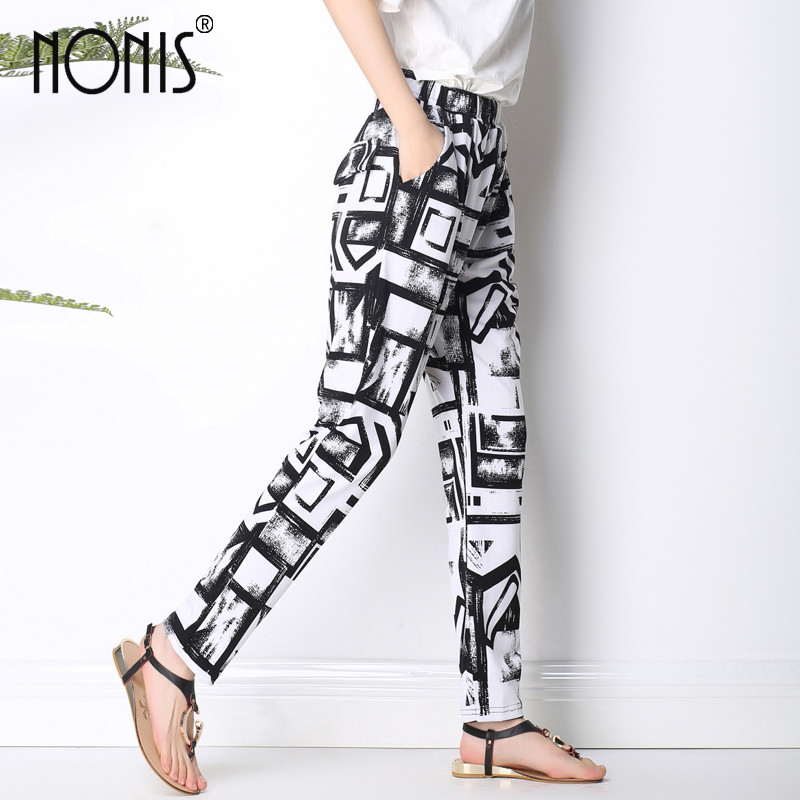 Nonis 2017 Summer New Arrival Women long harem Trousers variety of Geometric casual loose pant plus size 2