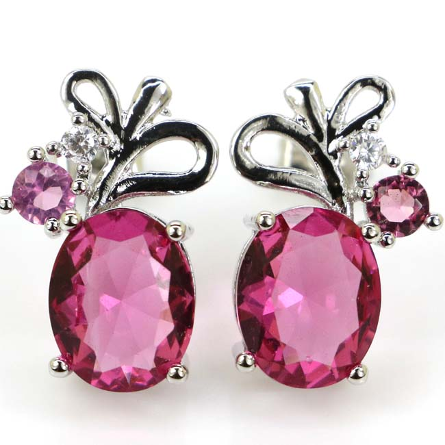 Gorgeous Pink Tourmaline White CZ Ladies Present Silver Earrings 18x11mm