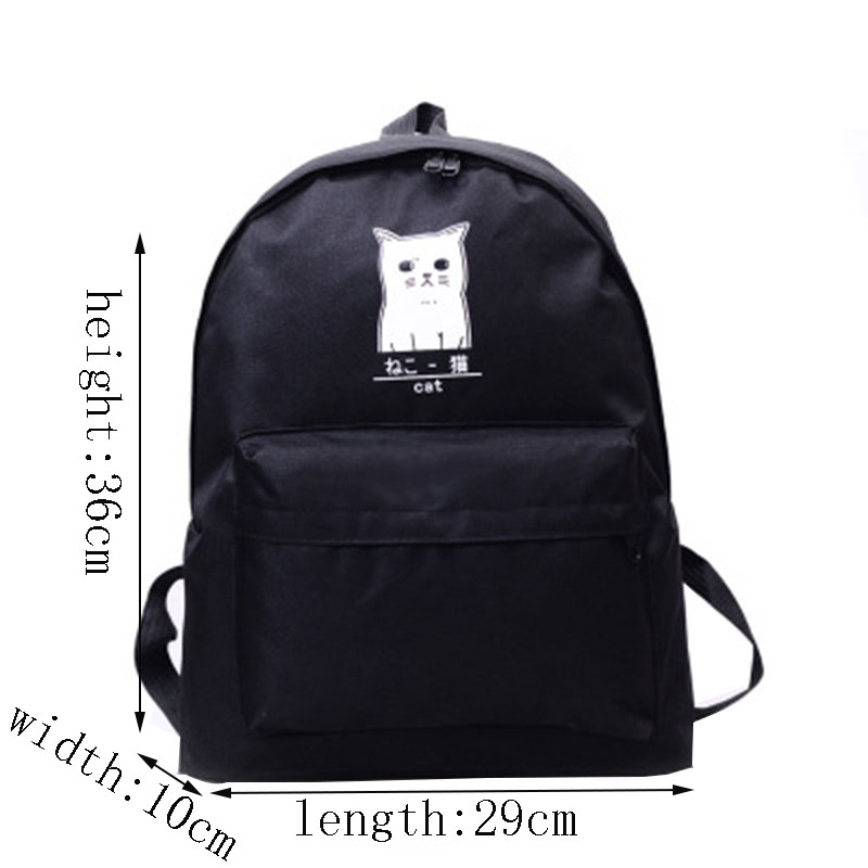 af7a873829a2 Backpack For Teenagers Girls Designer Cat Pattern Zipper Canvas Black  Waterproof School Boys Brand Women Laptop Bag