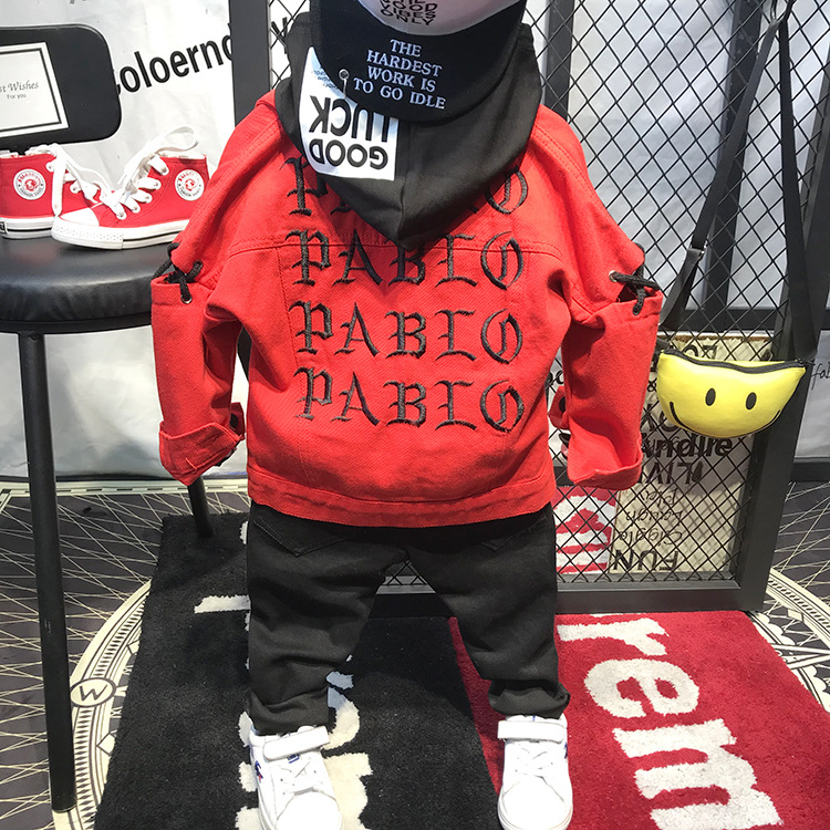 3pcs boys fashion clothing set kids red long sleeve coat striped hooded t shirt and black