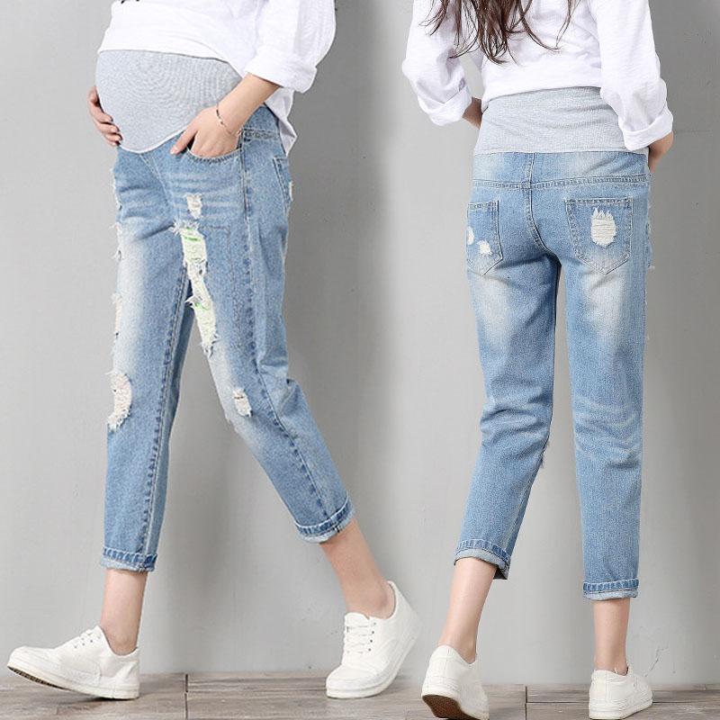 1ef562ae966e Pantaloni di maternità per le donne incinte Gravidanza Jeans denim Pantaloni  a buco della molla Belly Capris Legging Abbigliamento Tute Pantaloni ...