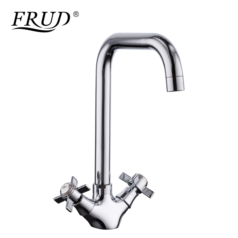 FRUD New 1 Set Kitchen Sink Water Tap Dual Handle Chrome