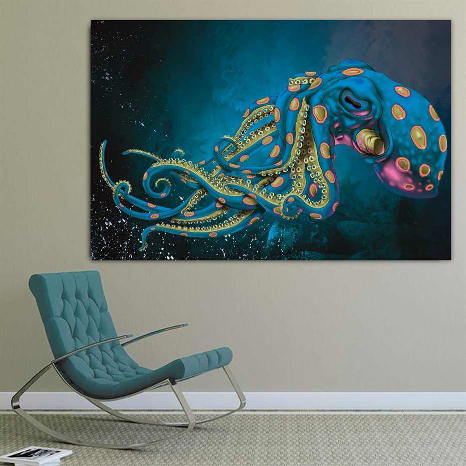 Sea Octopus Water Animal Design Canvas Painting Poster Print POP Art for Home Wall Decoration Art Living Room Wall Decor Art