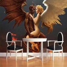 Современный ангел и дьявол любовь отель пара общежития сексуальный Профессиональный сделать фреску обои на заказ фото стены