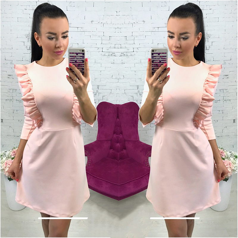 OYDDUP2018 Spring Women's Sweet Ruffle Dress Casual Round Neck 3/4 Sleeve Ladies Elegant Back Zip Dress Vintage Dress-in Dresses from Women's Clothing & Accessories on Aliexpress.com | Alibaba Group
