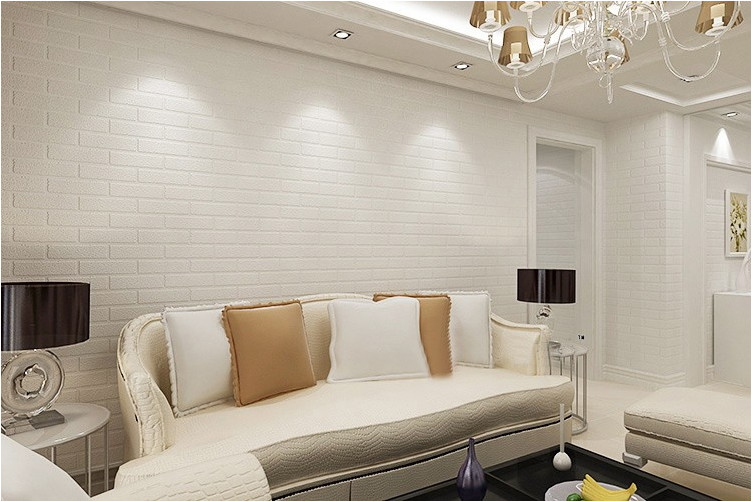 modern 3d brick off white foam thick embossed vinyl wall covering wall paper roll background wall living room bedroom wallpaper
