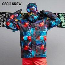 2018 GSOU снег Для мужчин лыжная куртка Лыжный спорт Сноуборд Костюмы ветрозащитный Водонепроницаемый Термальность уличная спортивная одежда мужская зимняя куртка пальто