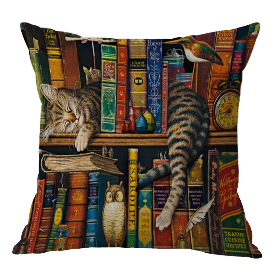 No Inner Filling Custom 2017 New Cartoon Cat Cushion Covers Pillow Cover Printed Cat For Home Kids Room Decoration