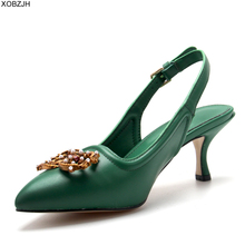 купить Italian Office Women Shoes Heels Pumps 2019 luxury Brand Designer pumps Green Ladies Genuine Leather Sandals Shoes Woman Lace up по цене 4250.28 рублей