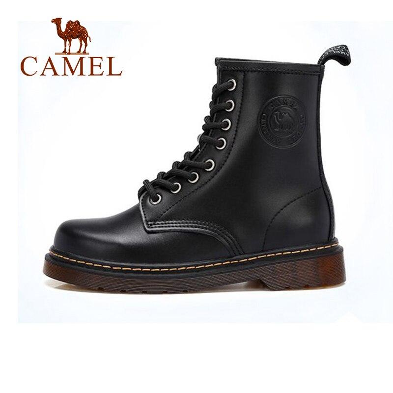 лучшая цена CAMEL Women Martin Boots Winter 2018 Genuine Leather Short Boots British Style high Heel Boots Shoes Women Non-slip Shoes