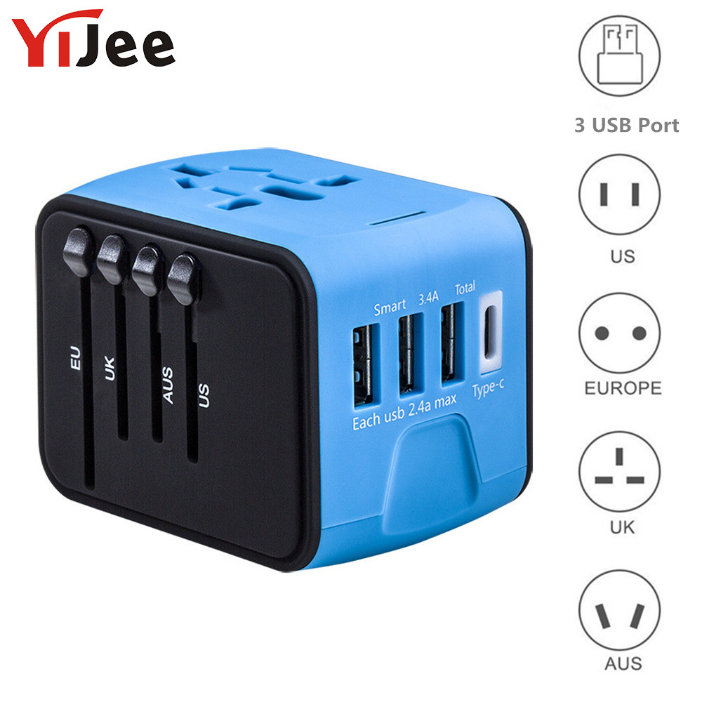 YiJee Universal Travel Adapter Electronic Plus Sockets 3.4A Fast Charging International Wall Charger Covers US/EU/AUS/UK
