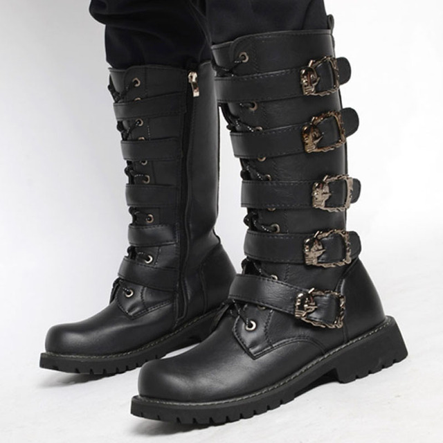 DESAI High Tube Men's Army Boots Extra Large Size Leather Boots Men's Military Combat Boots Metal Buckle Punk Lace Up Men's Shoe