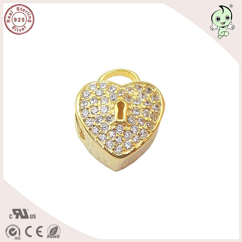 P&R Popular And Fashionable DIY Gold 925 Pure Silver Heart Lock Charm Fitting European Famous Brand Silver Bracelet
