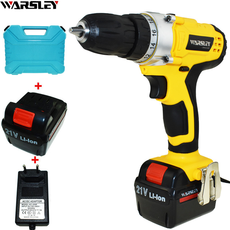 21V Cordless Drill Electric Drill Power Tools Electric Screwdriver Electric 2 Batteries Screwdriver Mini Drill Electric Drilling free shipping brand proskit upt 32007d frequency modulated electric screwdriver 2 electric screwdriver bit 900 1300rpm tools