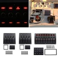 4 6 8 Gang Red LED Waterproof Rocker Panel Switch W Lens For Marine Boat 12