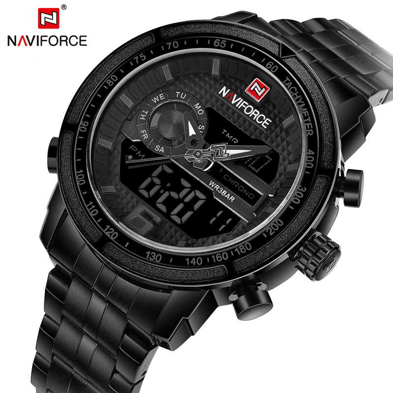 NAVIFORCE Men Dual Display Wristwatches Sport Mens Watches Top Brand Waterproof LED Display Watch Full Steel relogio masculino weide popular brand new fashion digital led watch men waterproof sport watches man white dial stainless steel relogio masculino
